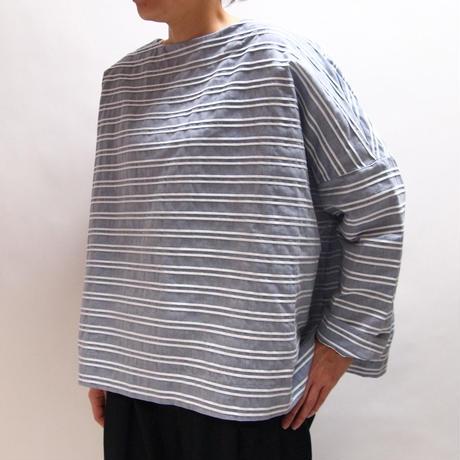 ピンタックボーダー 布帛バスクシャツ<16122-BL /BLUE>