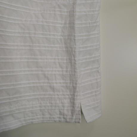 ピンタックボーダー 布帛バスクシャツ<16122-BL / WHITE>