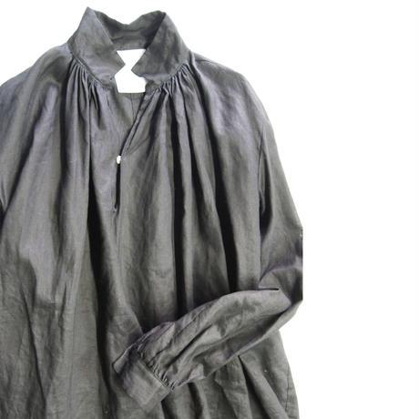 リネン コールドマーセ ギャザーシャツ <16111-BL / BLACK>