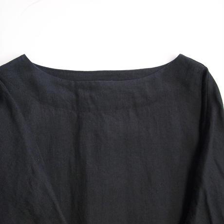 アイリッシュリネン プラットエアーイン布帛バスクシャツ<16121-BL / BLACK>