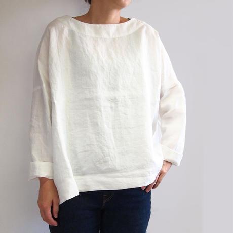 アイリッシュリネン プラットエアーイン布帛バスクシャツ<16121-BL / WHITE>