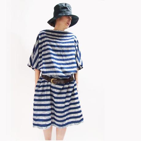 インディゴ抜染マリンボーダー ドレス <16115-DR / NAVY>