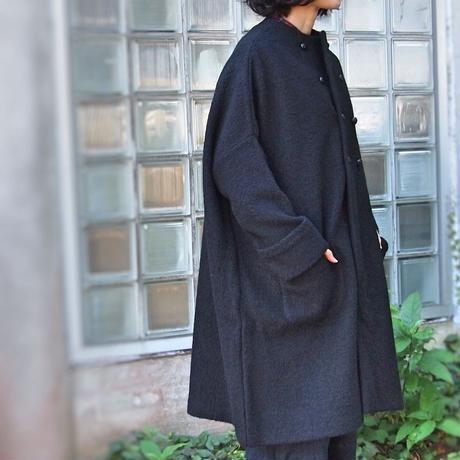 ウールコットン コクーンコート<18301-CO/BLACK>