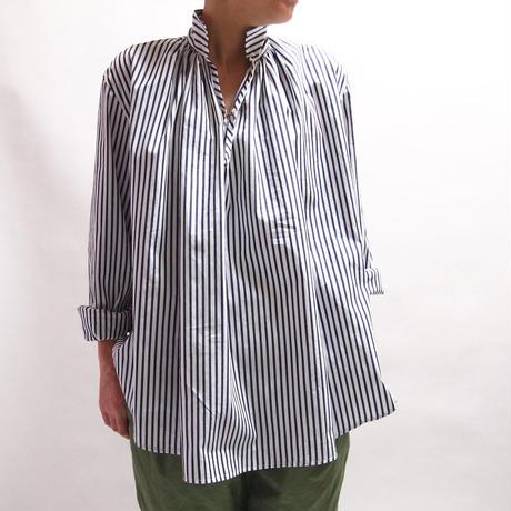 超長綿グログランストライプ ギャザープルオーバーシャツ<16114-BL / NAVY>