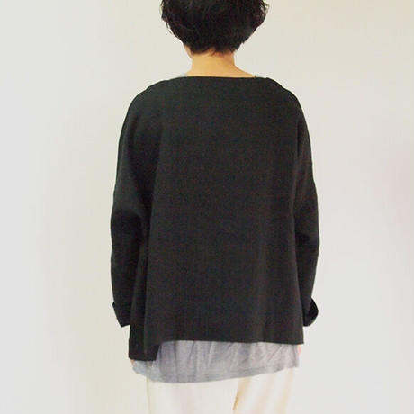 アイリッシュリネン 布帛バスクシャツ<16121-BL>