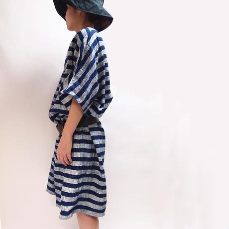 インディゴ抜染マリンボーダー ドレス <16115-DR >
