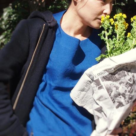 アイリッシュリネン プラットエアーイン布帛バスクシャツ<16121-BL / BLUE>