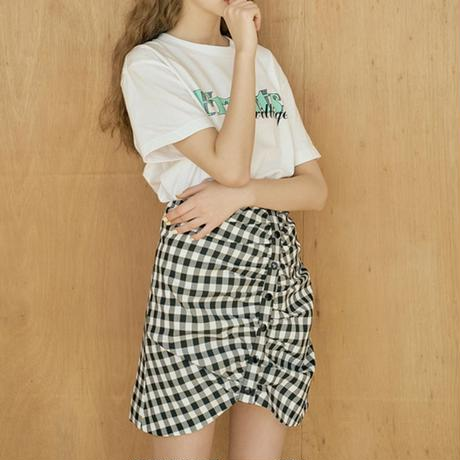 margarin fingers gingham check shirring skirt
