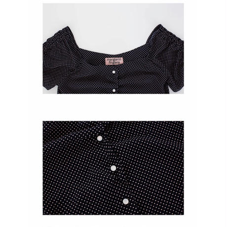 margarin fingers  cpolka dot blouse