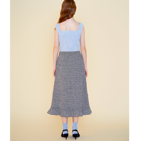 margarin fingers / check smocking one-piece