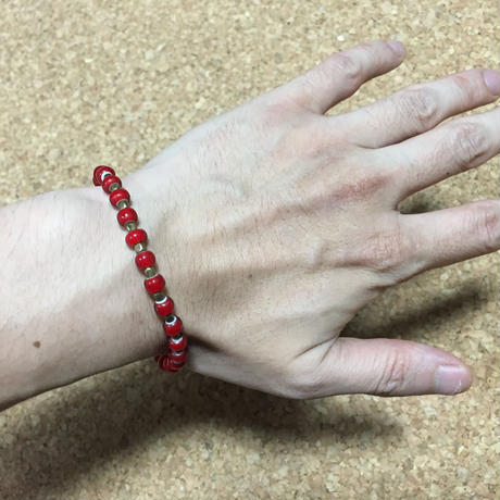 beads bracelet & anklet red