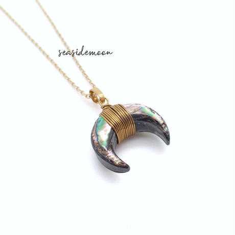 abalone shell moon necklace