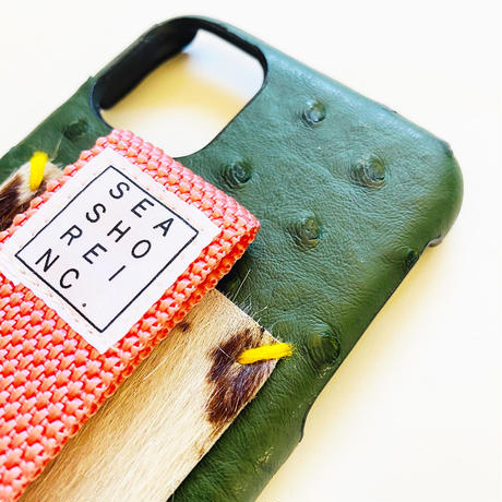 for iPhone【 ostrich 】green x smoke pink