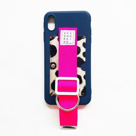 for iPhone【 animal 】navy × neon pink