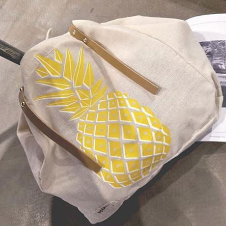 トートバッグ★パインナップル柄バッグ/布製/イエロー