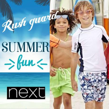 ▷◁ UPF+50 NEXT 男の子  Sunsafe Vestカッコイイ男の子 キッズ ホワイト 半袖ラッシュガード 水着 紫外線から守ろう♪★