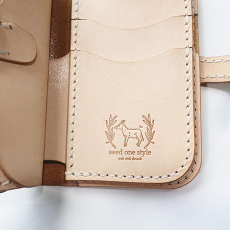 Leather Middle Wallet + Flap