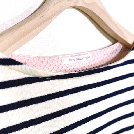 BOWBOW T-shirts [ Navy&pink race ]