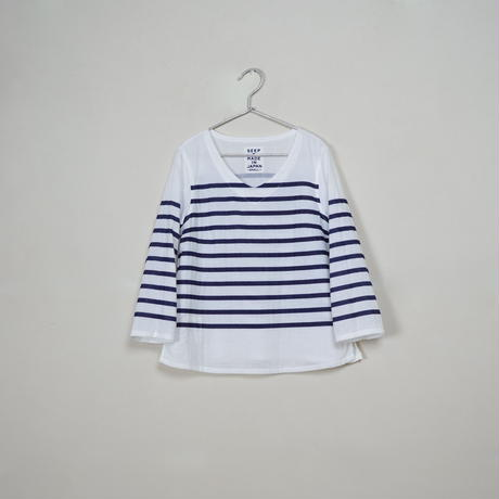 Lady's Gauze Border V-Neck Sht.  /  White × Navy