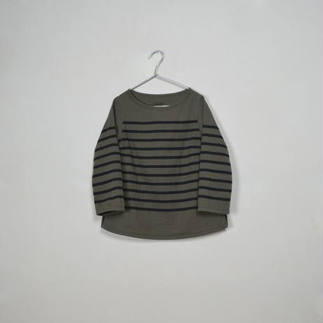 Lady's  Gauze Border  B-Neck Sht.  /  Olive × Black