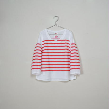 Lady's Gauze Border V-Neck Sht.  /  White × Red