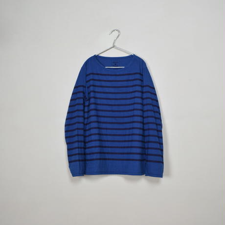 Men's  Gauze Border B-Neck Sht.  /  Indigo × Navy