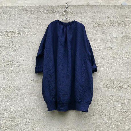 Indigo Linen Cocoon Tunic / M