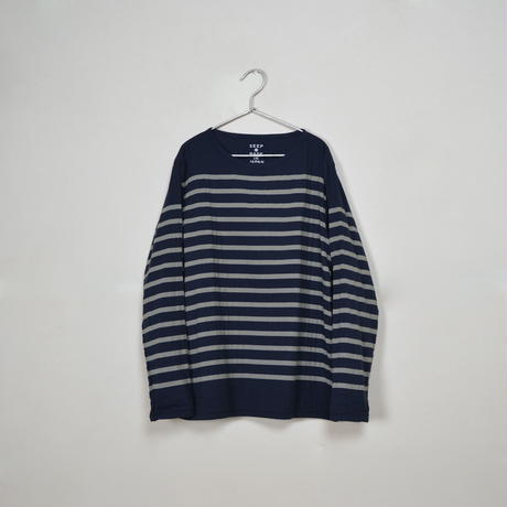 Men's  Gauze Border B-Neck Sht.  /  Navy × Ivory