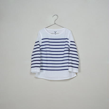 Lady's  Gauze Border  B-Neck Sht.  /  White × Navy