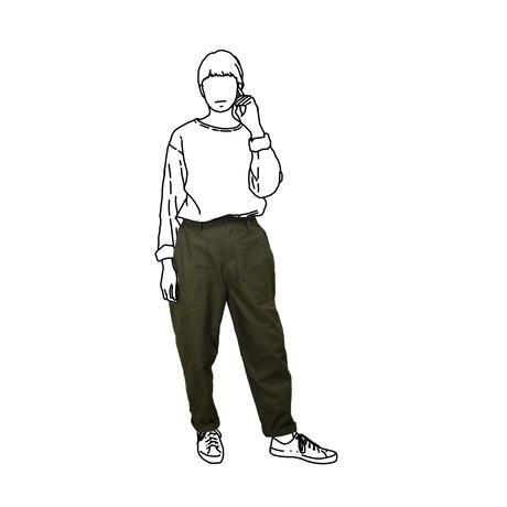 Cotton Twill Side-tuck Baker Pants