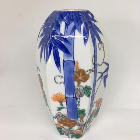 色絵竹に朝顔図面取り花瓶 源六作 明治後期