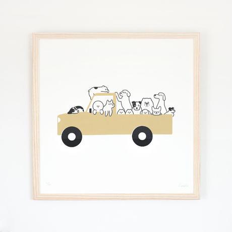 Silk Screen - A Jam-packed Car (Beige)