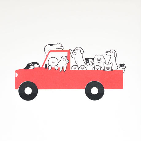 Silk Screen - A Jam-packed Car (Red)