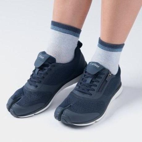 足袋型サポート靴下 クルー丈 ブルー×ネイビー【WOMEN】