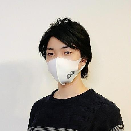 【ホワイト×グレー】オリジナルLOGO入りパステルマスク(フリーサイズ)