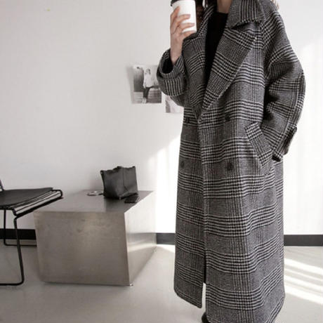【order only】check long coat