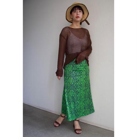 Green long skirt