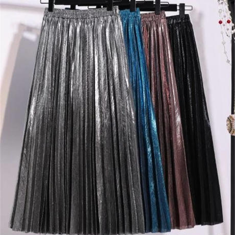 【即納/送料込】Shiny pleats skirt