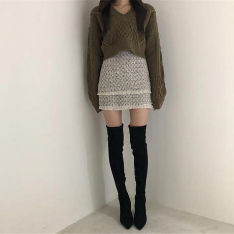 【即納/送料込】back ribbon knit