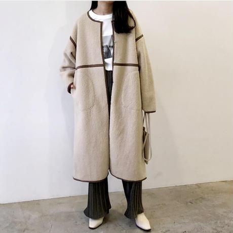【即納】fake mouton long coat(beige)