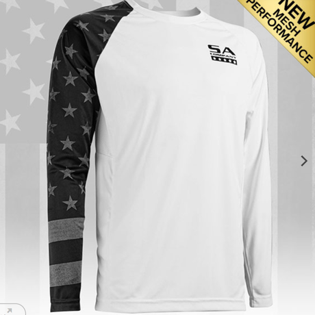 パフォーマンス ロングスリーブシャツ<アメリカンフラッグ-ブラック>