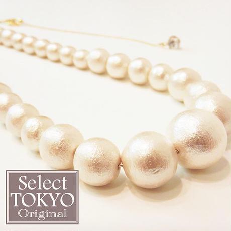 ◆贅沢にコットンパールを使用した ☆上品なグラデーションネックレス