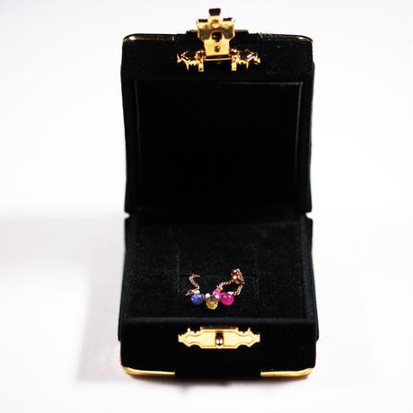 送料無料☆マルチカラーサファイアが手元を華やかに彩る 10Kゴールドチェーンリング