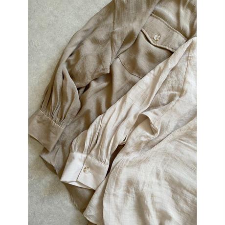 スラブシアー素材 オーバーサイズシャツ ベージュ