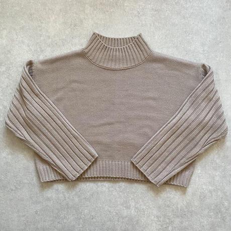 ショート丈ワイドリブ切替knitトップス ブルー