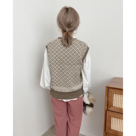 オーバーサイズ ジャガード柄knitベスト / beige