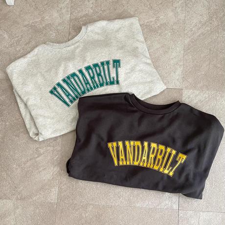裏毛カレッジlogo sweat/Charcoal black