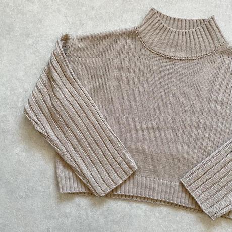 ショート丈ワイドリブ切替knitトップス グレージュ
