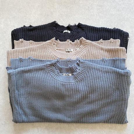 ざっくり編みブロークンknitプルオーバー ブルー