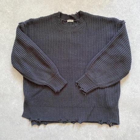 ざっくり編みブロークンknitプルオーバー グレージュ